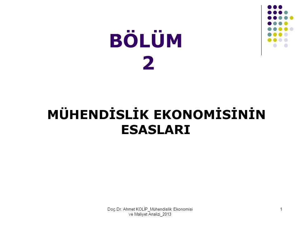 BÖLÜM 2 MÜHENDİSLİK EKONOMİSİNİN ESASLARI Doç.Dr. Ahmet KOLİP_Mühendislik Ekonomisi ve Maliyet Analizi_2013 1
