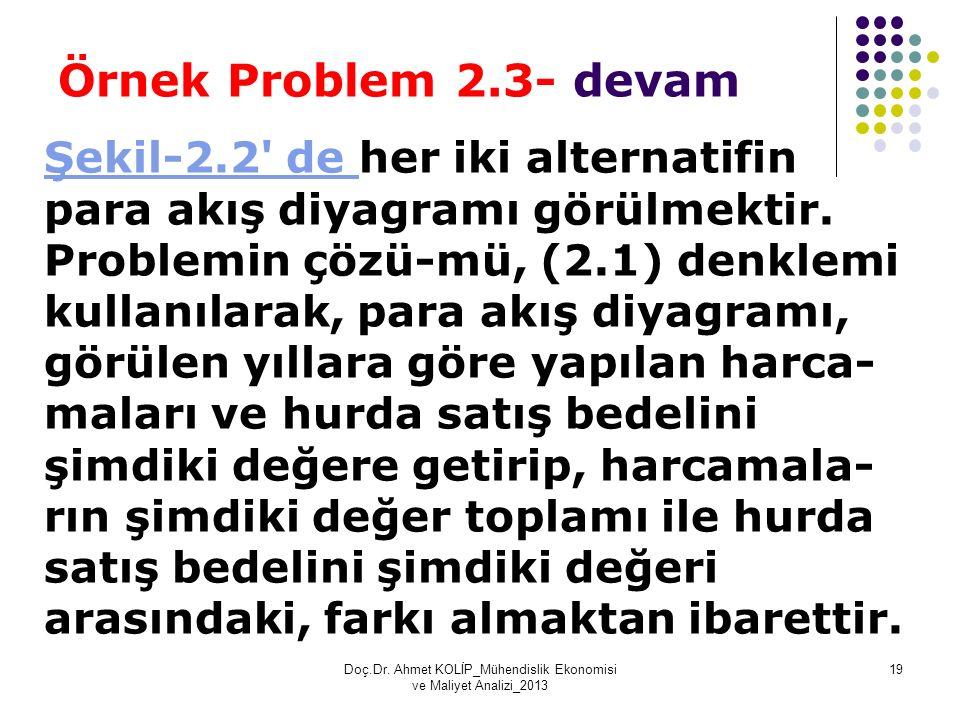 Örnek Problem 2.3- devam Şekil-2.2' de Şekil-2.2' de her iki alternatifin para akış diyagramı görülmektir. Problemin çözü-mü, (2.1) denklemi kullanıla