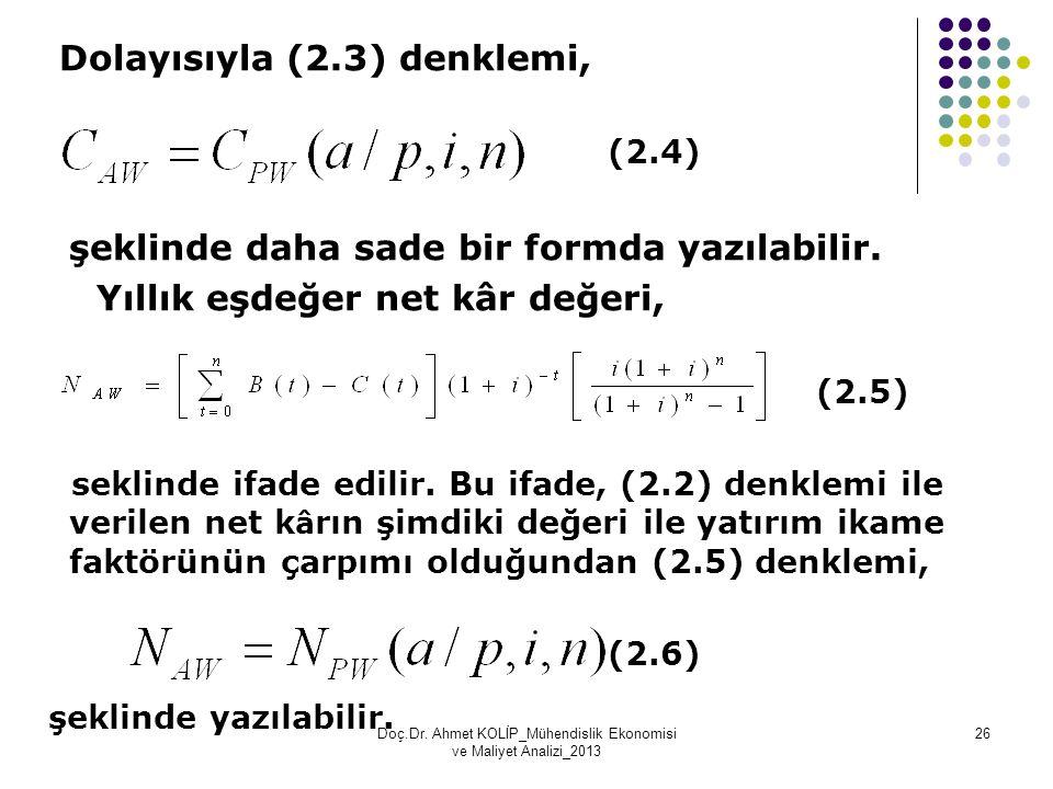 Dolayısıyla (2.3) denklemi, (2.4) şeklinde daha sade bir formda yazılabilir. Yıllık eşdeğer net kâr değeri, (2.5) seklinde ifade edilir. Bu ifade, (2.