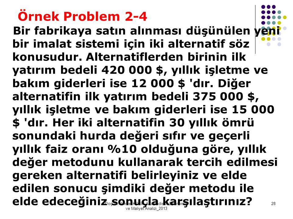 Örnek Problem 2-4 Bir fabrikaya satın alınması düşünülen yeni bir imalat sistemi için iki alternatif söz konusudur. Alternatiflerden birinin ilk yatır