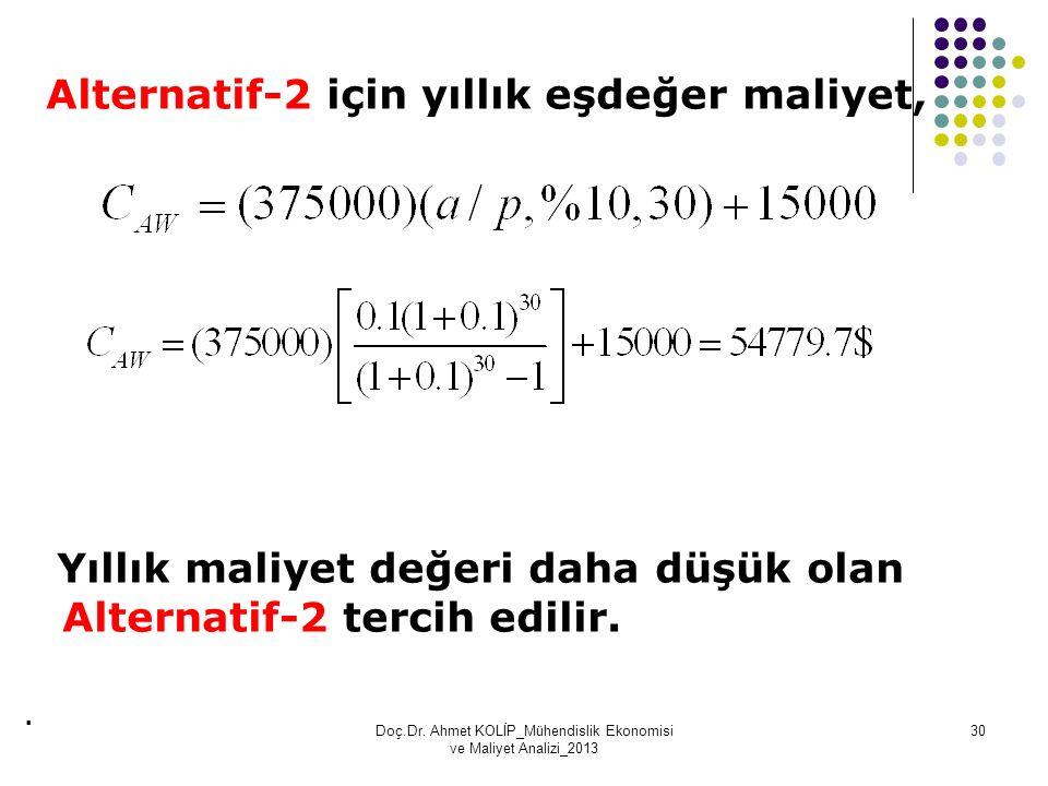 Alternatif-2 için yıllık eşdeğer maliyet, Yıllık maliyet değeri daha düşük olan Alternatif-2 tercih edilir.. Doç.Dr. Ahmet KOLİP_Mühendislik Ekonomisi
