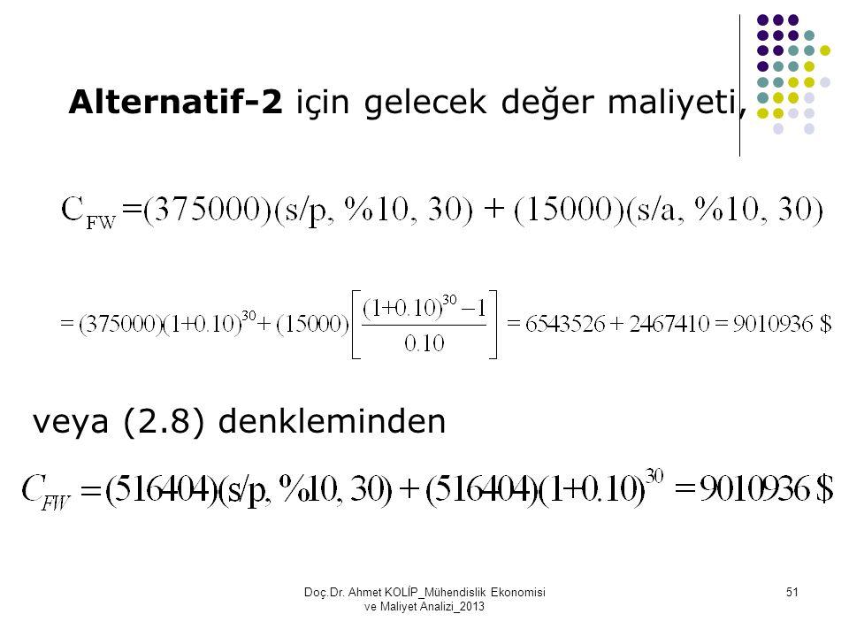 Alternatif-2 için gelecek değer maliyeti, veya (2.8) denkleminden Doç.Dr. Ahmet KOLİP_Mühendislik Ekonomisi ve Maliyet Analizi_2013 51