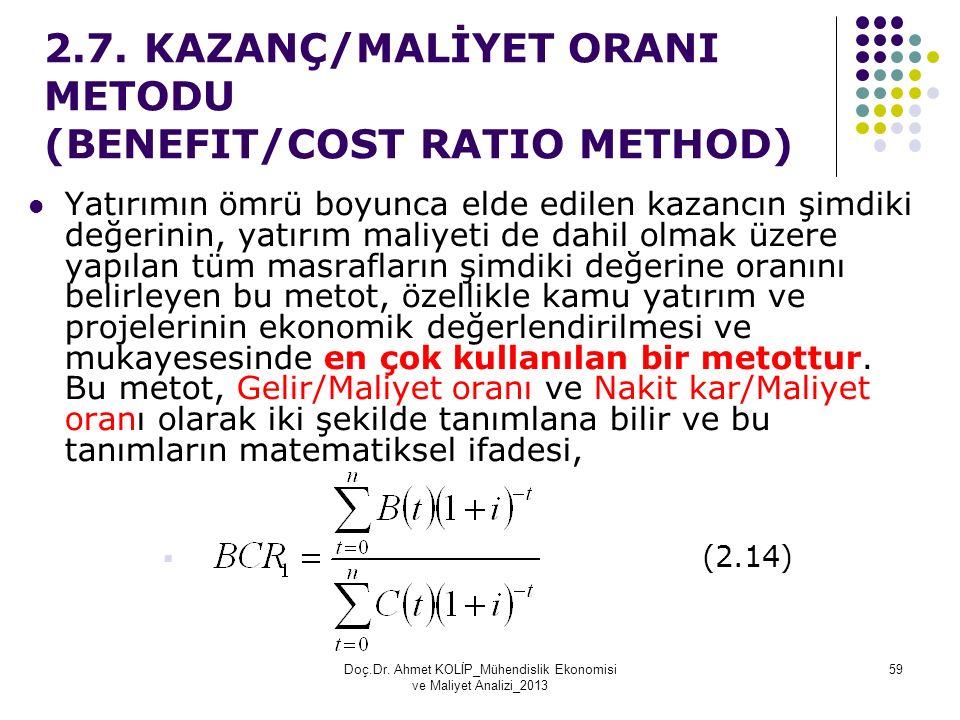 2.7. KAZANÇ/MALİYET ORANI METODU (BENEFIT/COST RATIO METHOD) Yatırımın ömrü boyunca elde edilen kazancın şimdiki değerinin, yatırım maliyeti de dahil