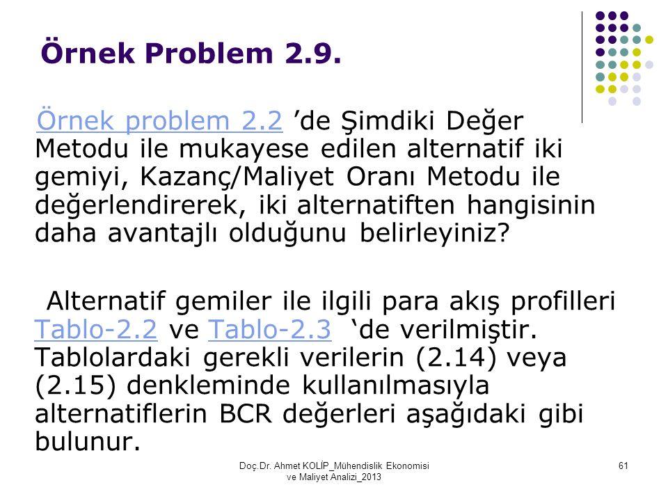 Örnek Problem 2.9. Örnek problem 2.2 'de Şimdiki Değer Metodu ile mukayese edilen alternatif iki gemiyi, Kazanç/Maliyet Oranı Metodu ile değerlendirer