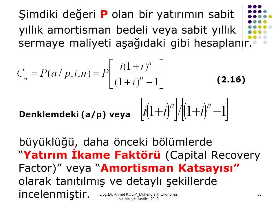 Şimdiki değeri P olan bir yatırımın sabit yıllık amortisman bedeli veya sabit yıllık sermaye maliyeti aşağıdaki gibi hesaplanır. (2.16) Denklemdeki (a
