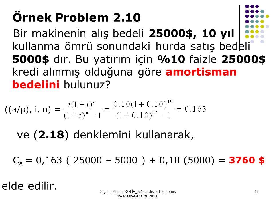 Örnek Problem 2.10 Bir makinenin alış bedeli 25000$, 10 yıl kullanma ömrü sonundaki hurda satış bedeli 5000$ dır. Bu yatırım için %10 faizle 25000$ kr