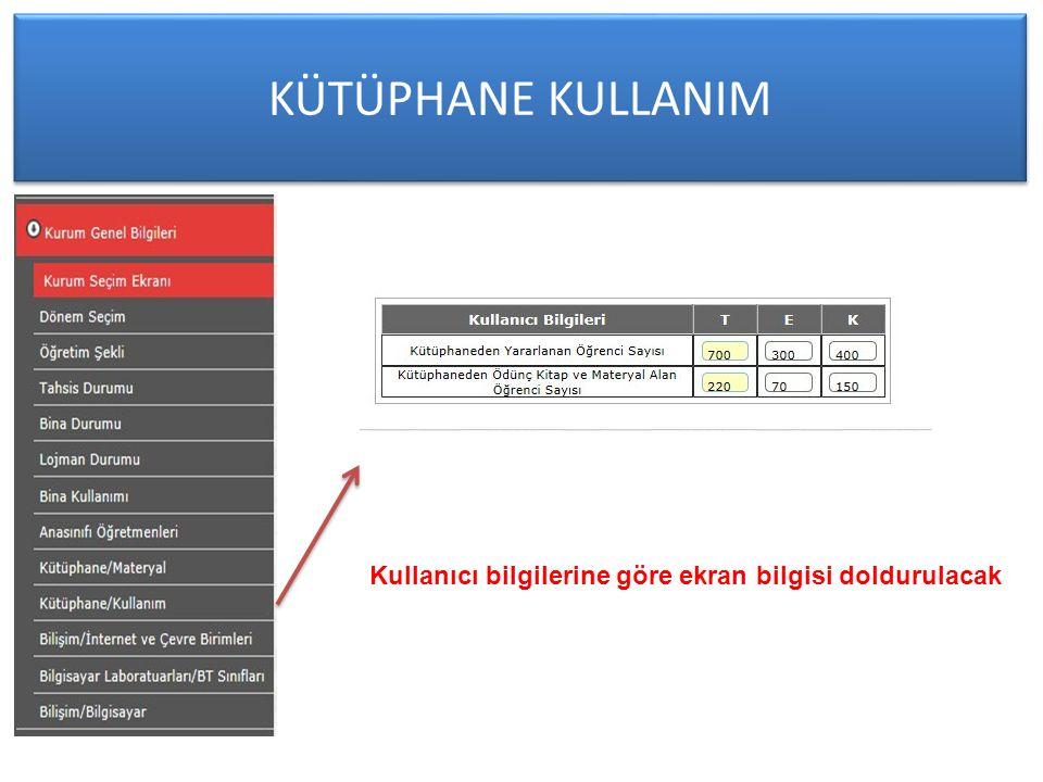 KÜTÜPHANE KULLANIM Kullanıcı bilgilerine göre ekran bilgisi doldurulacak