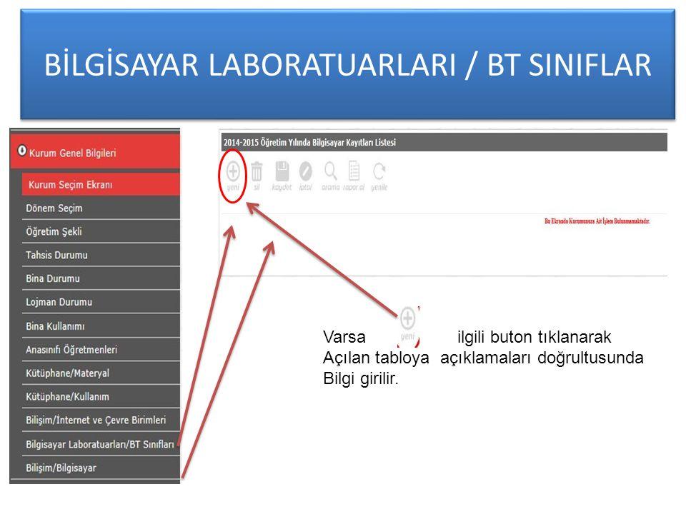BİLGİSAYAR LABORATUARLARI / BT SINIFLAR Varsa ilgili buton tıklanarak Açılan tabloya açıklamaları doğrultusunda Bilgi girilir.