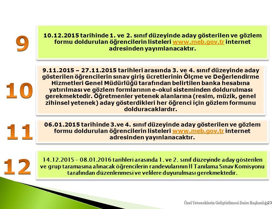 23 9.11.2015 – 27.11.2015 tarihleri arasında 3. ve 4.