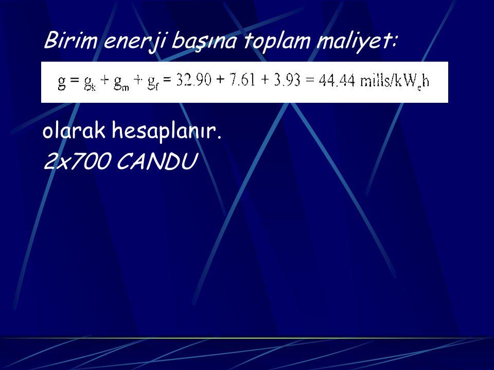 Birim enerji başına toplam maliyet: olarak hesaplanır. 2x700 CANDU