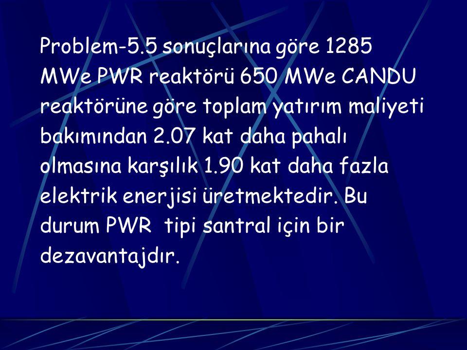 Problem-5.5 sonuçlarına göre 1285 MWe PWR reaktörü 650 MWe CANDU reaktörüne göre toplam yatırım maliyeti bakımından 2.07 kat daha pahalı olmasına karş