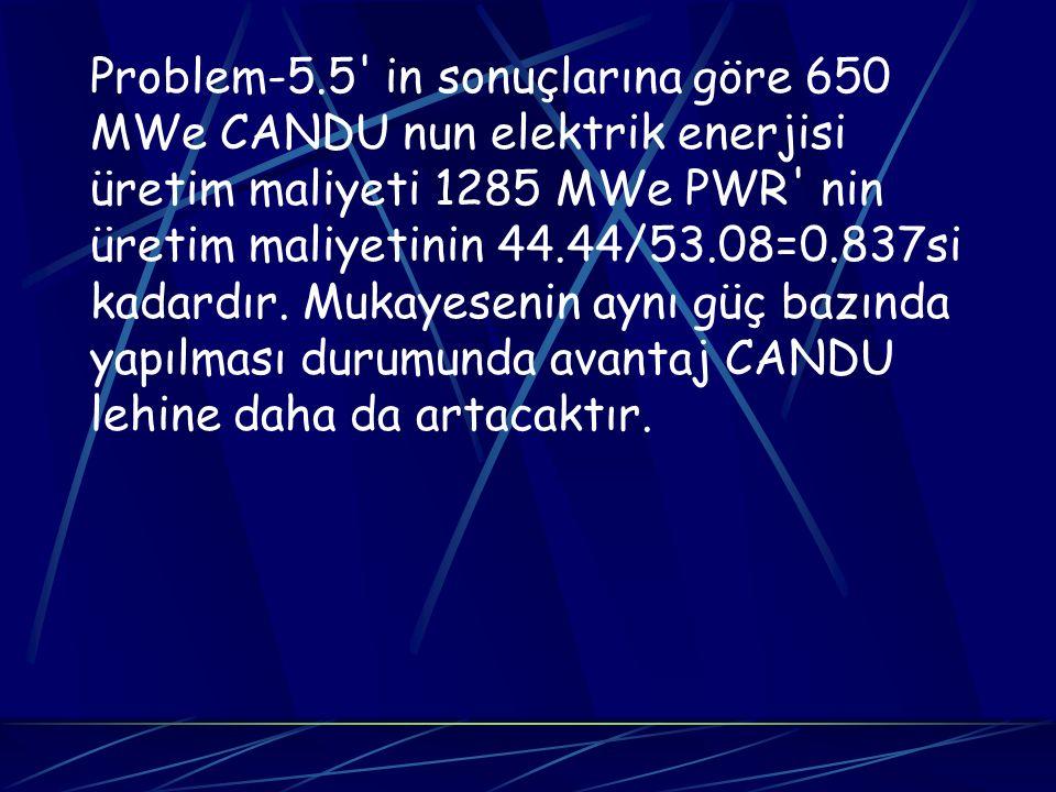 Problem-5.5' in sonuçlarına göre 650 MWe CANDU nun elektrik enerjisi üretim maliyeti 1285 MWe PWR' nin üretim maliyetinin 44.44/53.08=0.837si kadardır