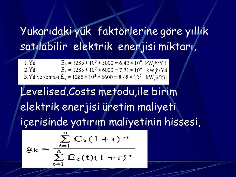 Yukarıdaki yük faktörlerine göre yıllık satılabilir elektrik enerjisi miktarı, Levelised.Costs metodu,ile birim elektrik enerjisi üretim maliyeti içer