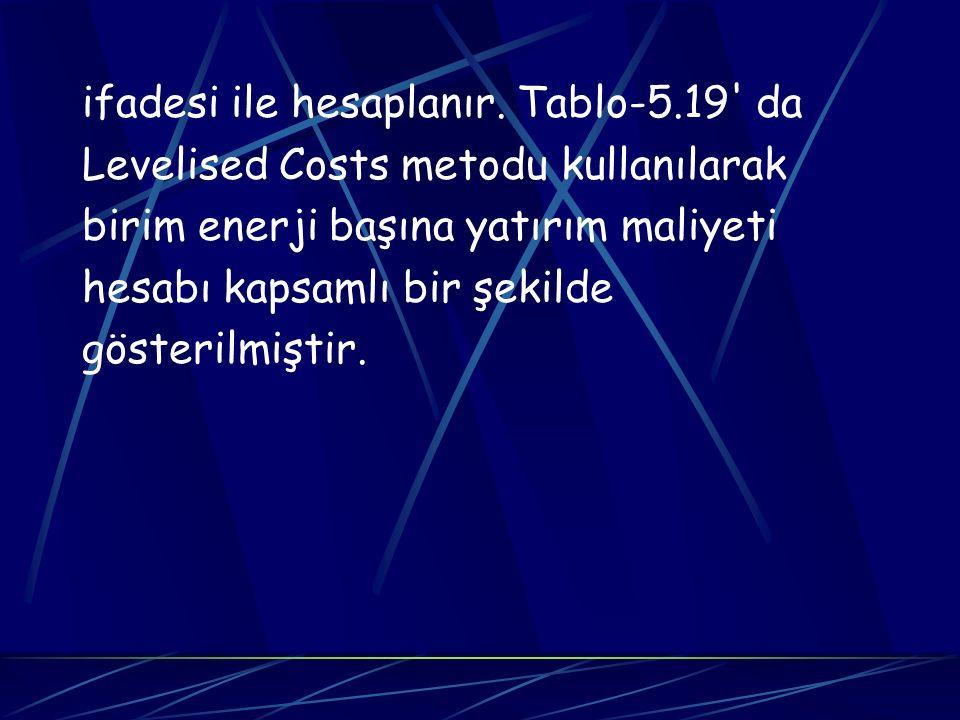 ifadesi ile hesaplanır. Tablo-5.19' da Levelised Costs metodu kullanılarak birim enerji başına yatırım maliyeti hesabı kapsamlı bir şekilde gösterilmi