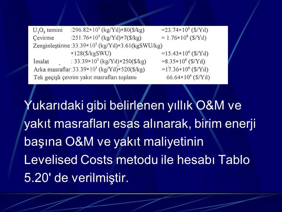 Yukarıdaki gibi belirlenen yıllık O&M ve yakıt masrafları esas alınarak, birim enerji başına O&M ve yakıt maliyetinin Levelised Costs metodu ile hesab