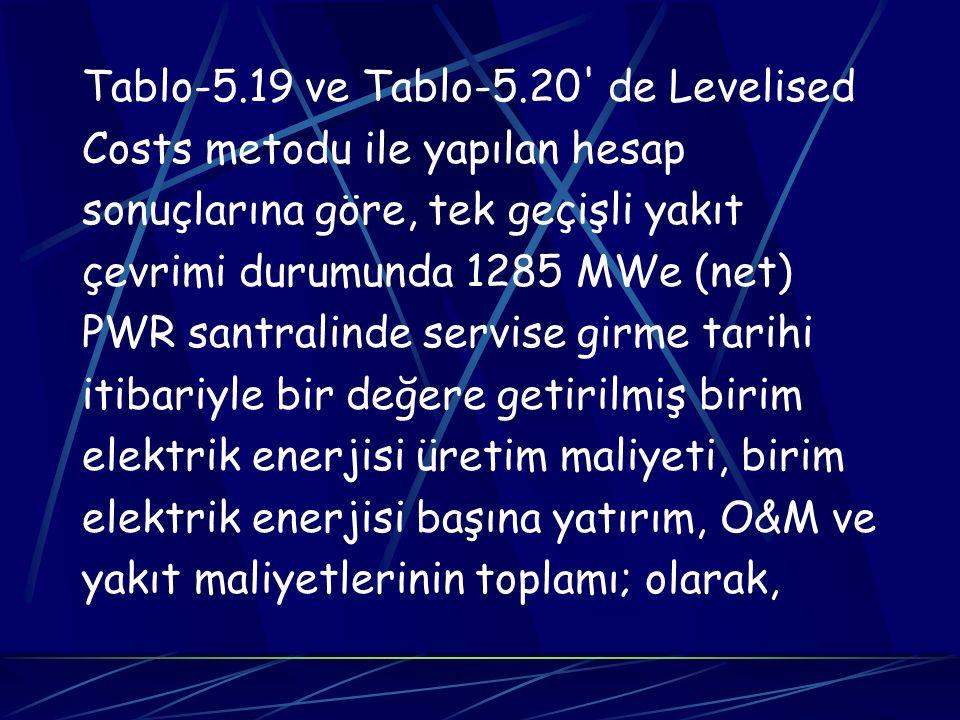 Tablo-5.19 ve Tablo-5.20' de Levelised Costs metodu ile yapılan hesap sonuçlarına göre, tek geçişli yakıt çevrimi durumunda 1285 MWe (net) PWR santral