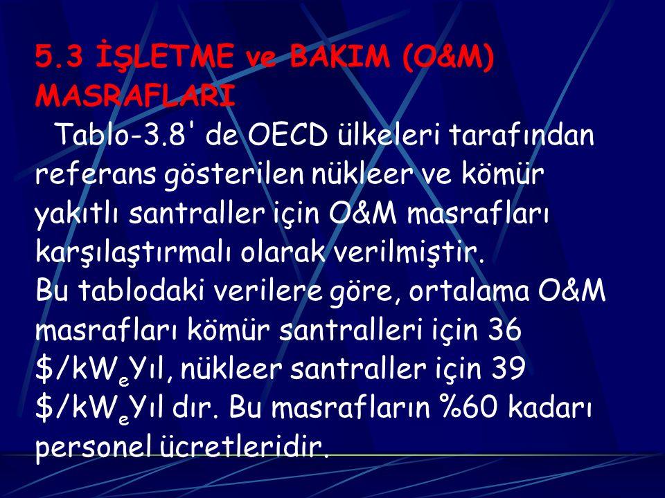 5.3 İŞLETME ve BAKIM (O&M) MASRAFLARI Tablo-3.8' de OECD ülkeleri tarafından referans gösterilen nükleer ve kömür yakıtlı santraller için O&M masrafla