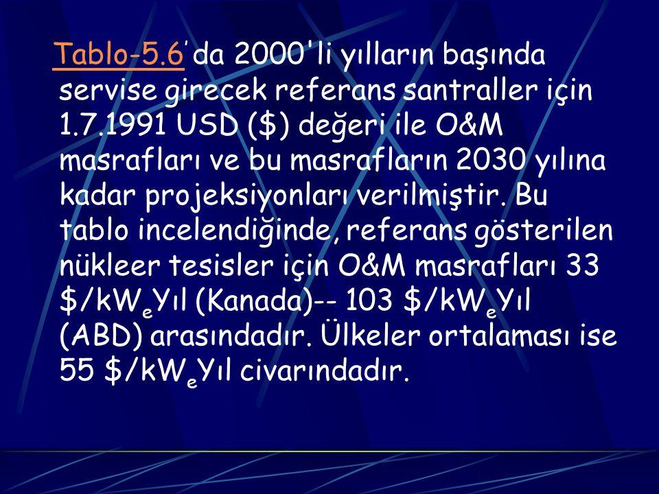 Tablo-5.6 ' da 2000'li yılların başında servise girecek referans santraller için 1.7.1991 USD ($) değeri ile O&M masrafları ve bu masrafların 2030 yıl