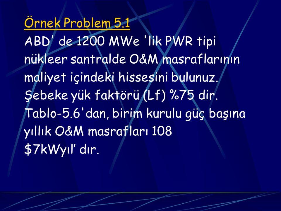 Örnek Problem 5.1 ABD' de 1200 MWe 'lik PWR tipi nükleer santralde O&M masraflarının maliyet içindeki hissesini bulunuz. Şebeke yük faktörü (Lf) %75 d