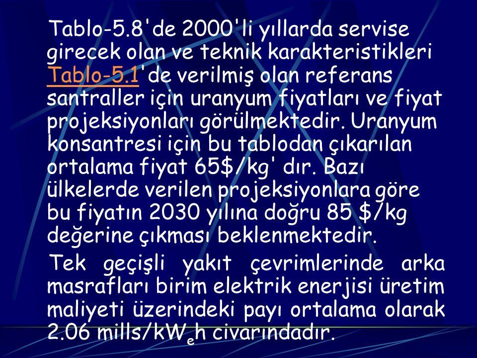 Tablo-5.8'de 2000'li yıllarda servise girecek olan ve teknik karakteristikleri Tablo-5.1'de verilmiş olan referans santraller için uranyum fiyatları v