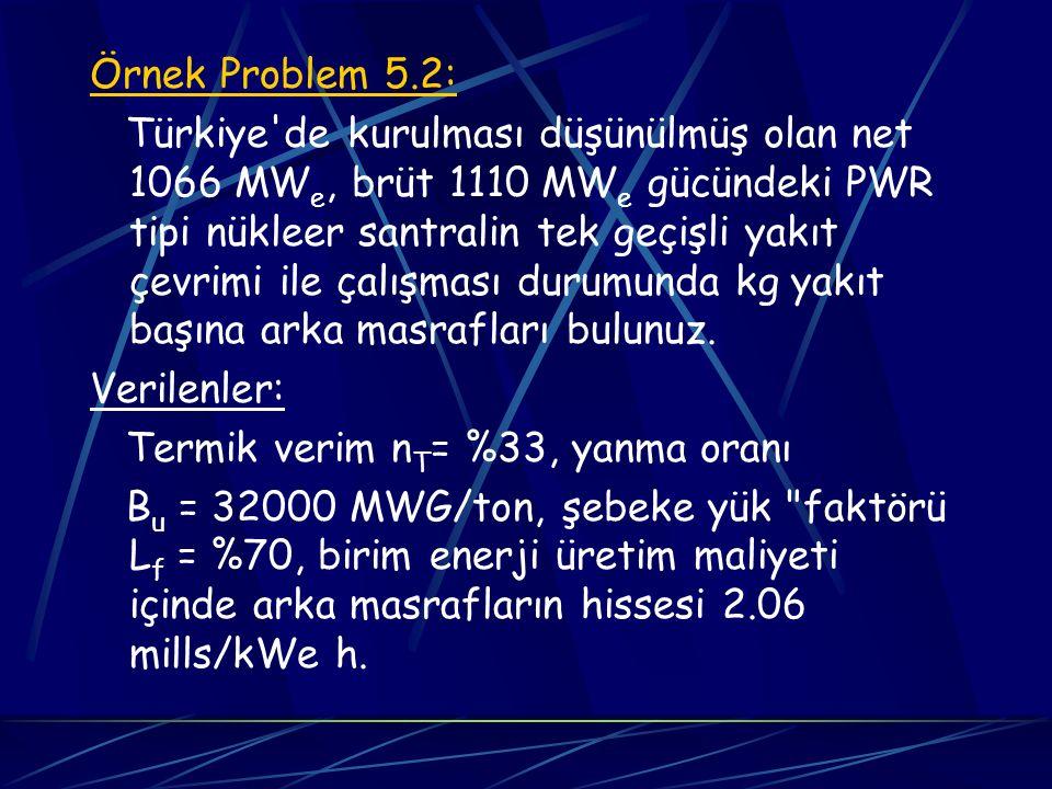 Örnek Problem 5.2: Türkiye'de kurulması düşünülmüş olan net 1066 MW e, brüt 1110 MW e gücündeki PWR tipi nükleer santralin tek geçişli yakıt çevrimi i