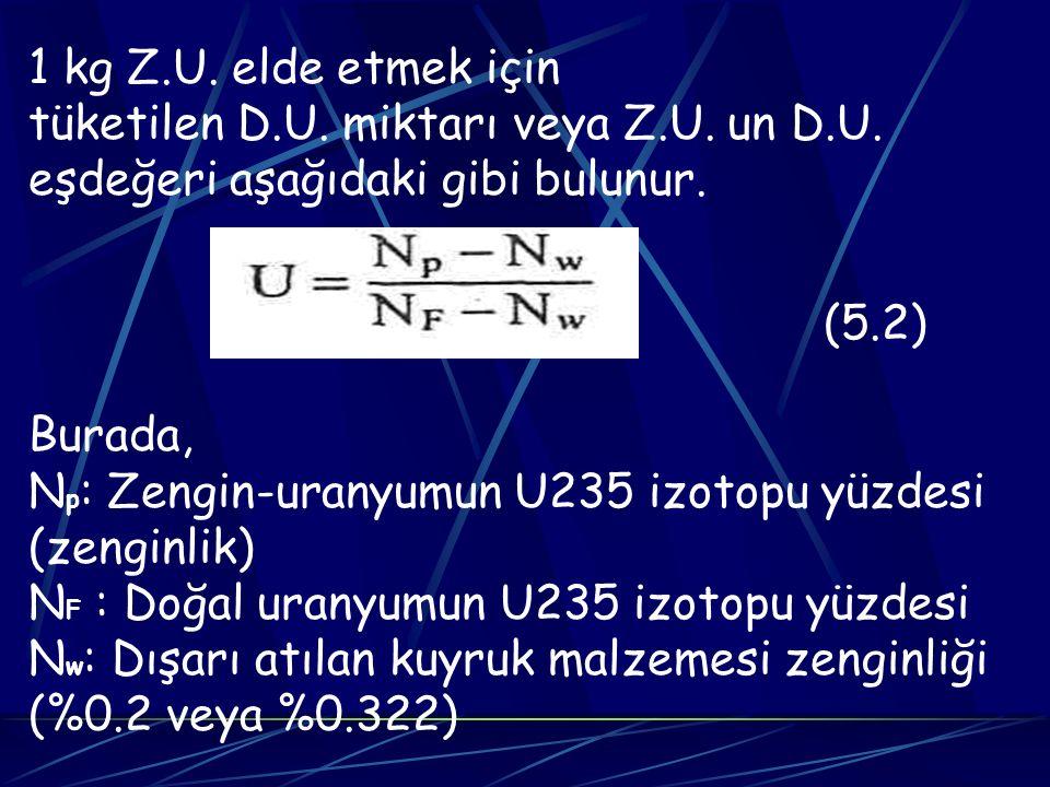 1 kg Z.U. elde etmek için tüketilen D.U. miktarı veya Z.U. un D.U. eşdeğeri aşağıdaki gibi bulunur. (5.2) Burada, N p : Zengin-uranyumun U235 izotopu