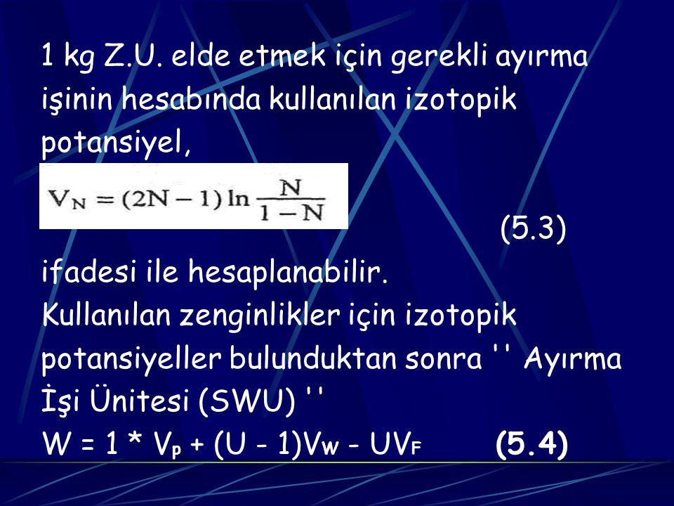 1 kg Z.U. elde etmek için gerekli ayırma işinin hesabında kullanılan izotopik potansiyel, (5.3) ifadesi ile hesaplanabilir. Kullanılan zenginlikler iç