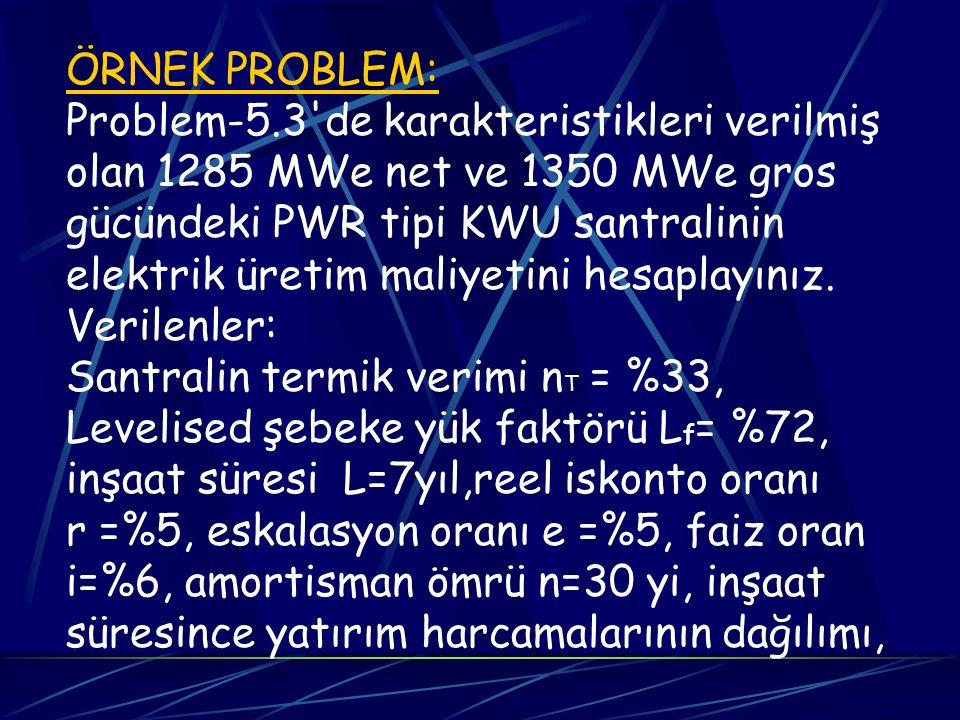 ÖRNEK PROBLEM: Problem-5.3'de karakteristikleri verilmiş olan 1285 MWe net ve 1350 MWe gros gücündeki PWR tipi KWU santralinin elektrik üretim maliyet
