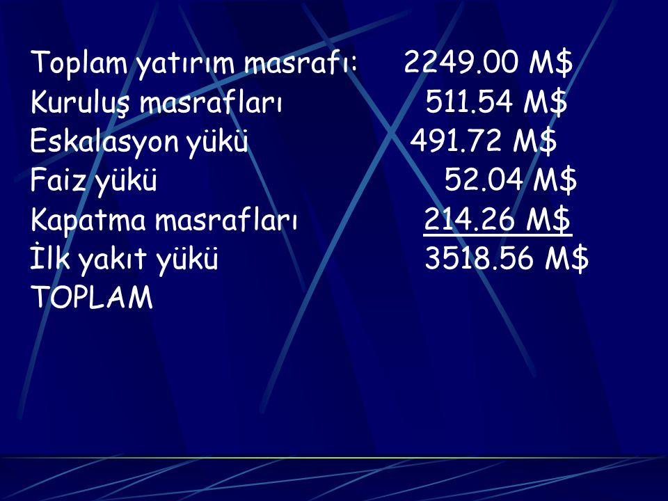 Toplam yatırım masrafı: 2249.00 M$ Kuruluş masrafları 511.54 M$ Eskalasyon yükü 491.72 M$ Faiz yükü 52.04 M$ Kapatma masrafları 214.26 M$ İlk yakıt yü