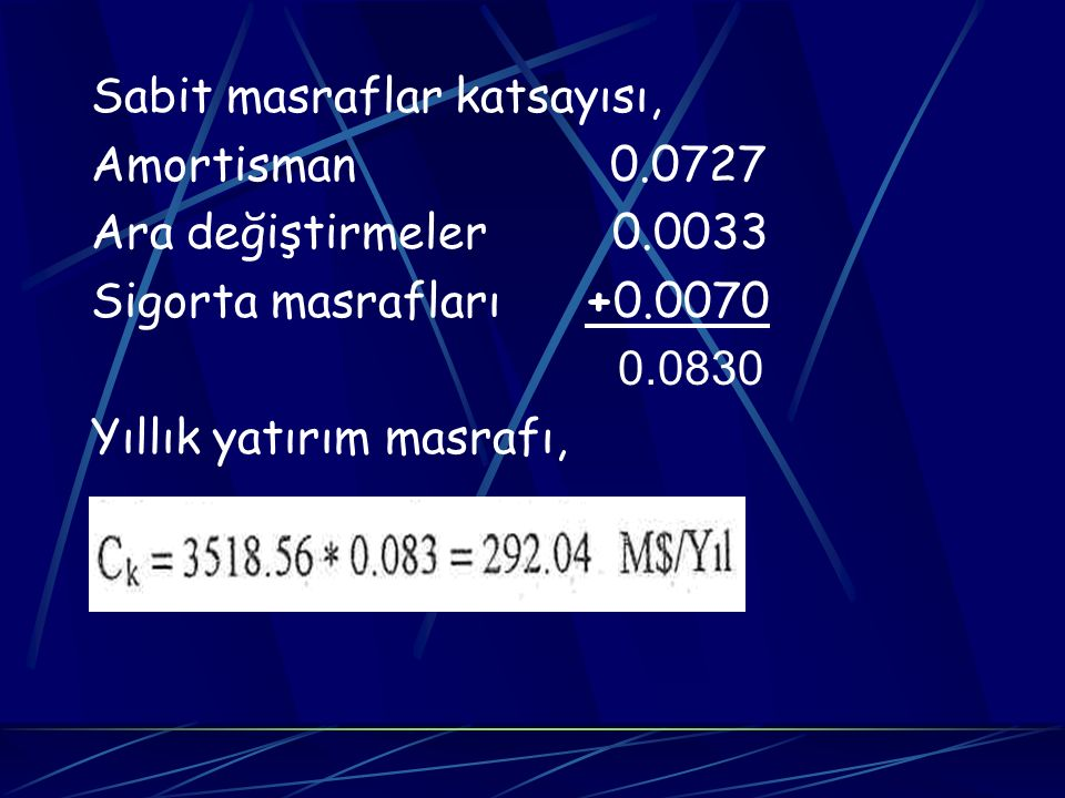 Sabit masraflar katsayısı, Amortisman 0.0727 Ara değiştirmeler 0.0033 Sigorta masrafları +0.0070 0.0830 Yıllık yatırım masrafı,