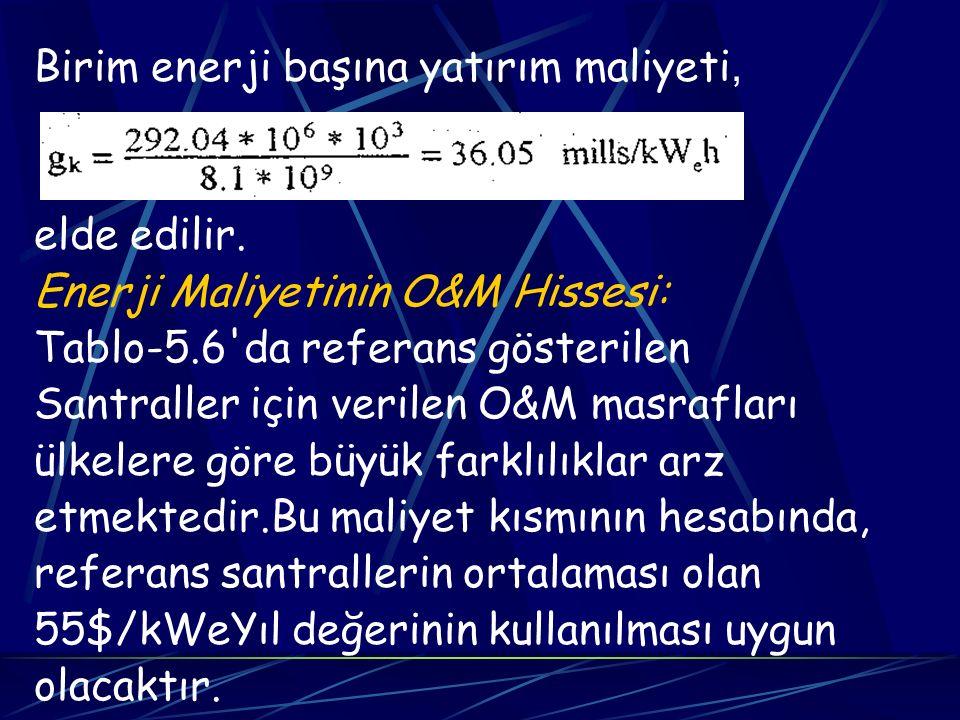 Birim enerji başına yatırım maliyeti, elde edilir. Enerji Maliyetinin O&M Hissesi: Tablo-5.6'da referans gösterilen Santraller için verilen O&M masraf