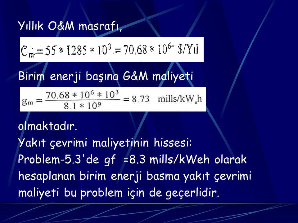 Yıllık O&M masrafı, Birim enerji başına G&M maliyeti olmaktadır. Yakıt çevrimi maliyetinin hissesi: Problem-5.3'de gf =8.3 mills/kWeh olarak hesaplana