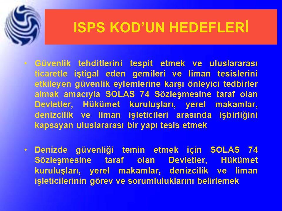ISPS KOD'UN HEDEFLERİ Güvenlik tehditlerini tespit etmek ve uluslararası ticaretle iştigal eden gemileri ve liman tesislerini etkileyen güvenlik eylem