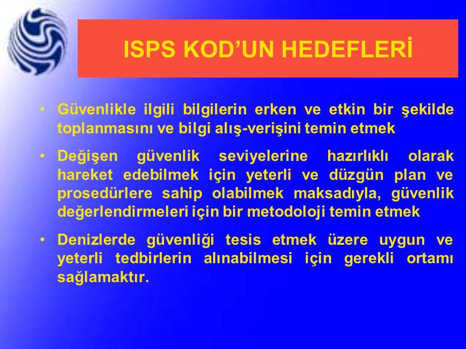 ISPS KOD'UN HEDEFLERİ Güvenlikle ilgili bilgilerin erken ve etkin bir şekilde toplanmasını ve bilgi alış-verişini temin etmek Değişen güvenlik seviyel