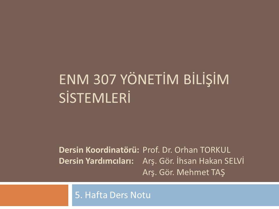 ENM 307 YÖNETİM BİLİŞİM SİSTEMLERİ Dersin Koordinatörü:Prof.