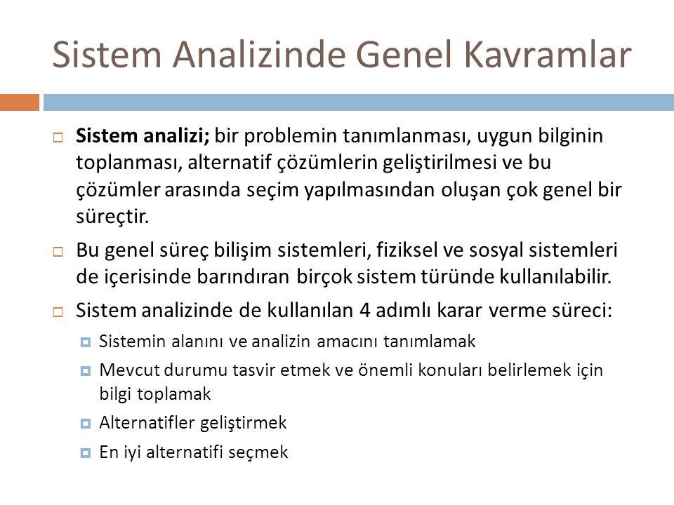 Sistem Analizinde Genel Kavramlar  Sistem analizi; bir problemin tanımlanması, uygun bilginin toplanması, alternatif çözümlerin geliştirilmesi ve bu çözümler arasında seçim yapılmasından oluşan çok genel bir süreçtir.