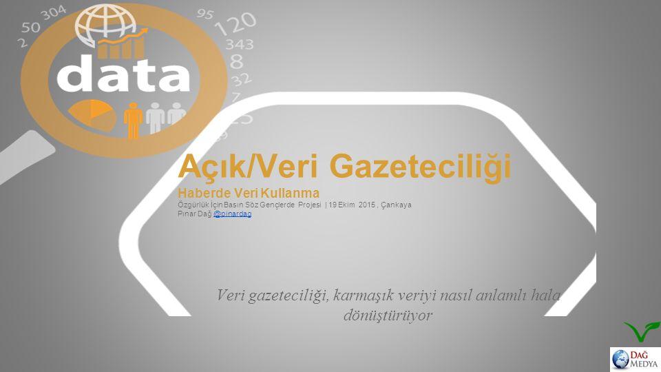 Açık/Veri Gazeteciliği Haberde Veri Kullanma Özgürlük İçin Basın Söz Gençlerde Projesi | 19 Ekim 2015, Çankaya Pınar Dağ @pinardag Veri gazeteciliği, karmaşık veriyi nasıl anlamlı hala dönüştürüyor