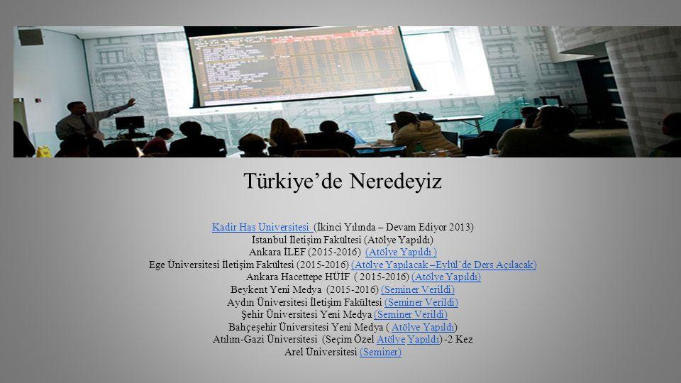 Türkiye'de Neredeyiz Kadir Has Universitesi (İkinci Yılında – Devam Ediyor 2013) İstanbul İletişim Fakültesi (Atölye Yapıldı) Ankara İLEF (2015-2016) (Atölye Yapıldı )(Atölye Yapıldı ) Ege Üniversitesi İletişim Fakültesi (2015-2016) (Atölye Yapılacak –Eylül'de Ders Açılacak)(Atölye Yapılacak –Eylül'de Ders Açılacak) Ankara Hacettepe HÜİF ( 2015-2016) (Atölye Yapıldı) Beykent Yeni Medya (2015-2016) (Seminer Verildi)(Atölye Yapıldı)(Seminer Verildi) Aydın Üniversitesi İletişim Fakültesi (Seminer Verildi) Şehir Üniversitesi Yeni Medya (Seminer Verildi) Bahçeşehir Üniversitesi Yeni Medya ( Atölye Yapıldı) Atılım-Gazi Üniversitesi (Seçim Özel Atölye Yapıldı) -2 Kez Arel Üniversitesi (Seminer)(Seminer Verildi) Atölye YapıldıAtölyeYapıldı(Seminer)