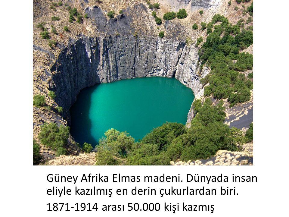 Güney Afrika Elmas madeni. Dünyada insan eliyle kazılmış en derin çukurlardan biri.
