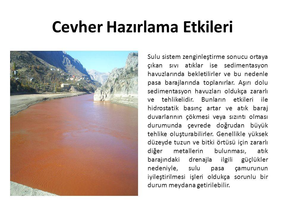 Cevher Hazırlama Etkileri Sulu sistem zenginleştirme sonucu ortaya çıkan sıvı atıklar ise sedimentasyon havuzlarında bekletilirler ve bu nedenle pasa barajlarında toplanırlar.