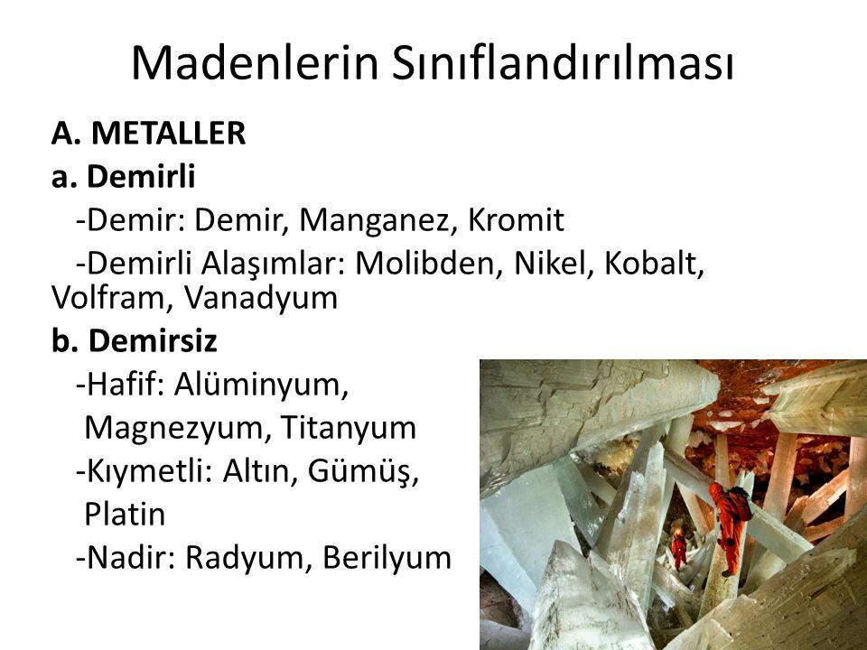 Madenlerin Sınıflandırılması A. METALLER a.