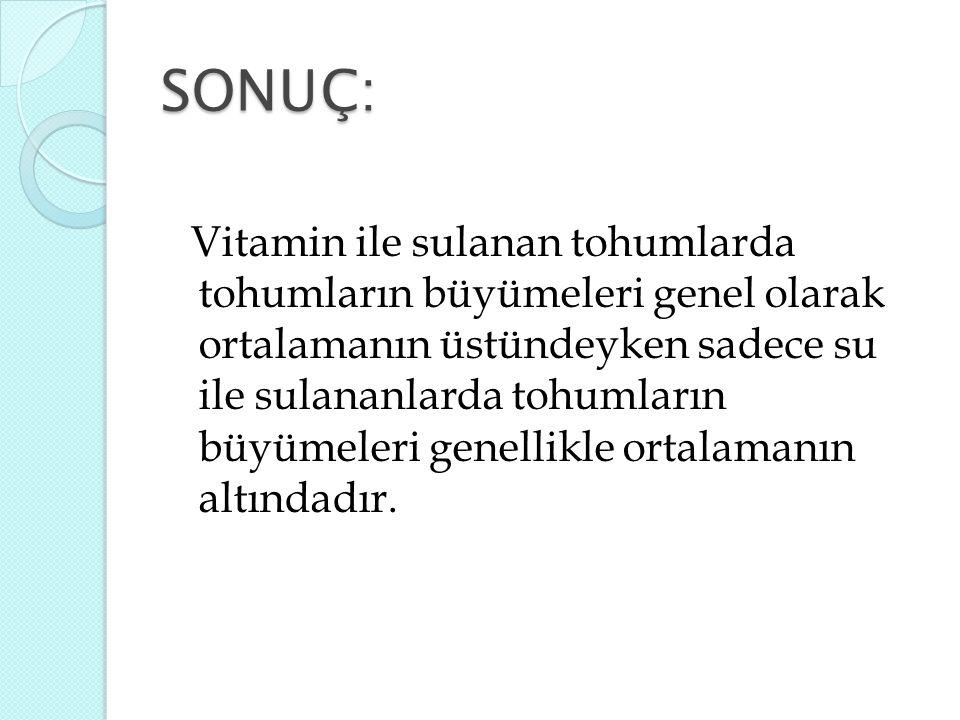 SONUÇ: Vitamin ile sulanan tohumlarda tohumların büyümeleri genel olarak ortalamanın üstündeyken sadece su ile sulananlarda tohumların büyümeleri gene