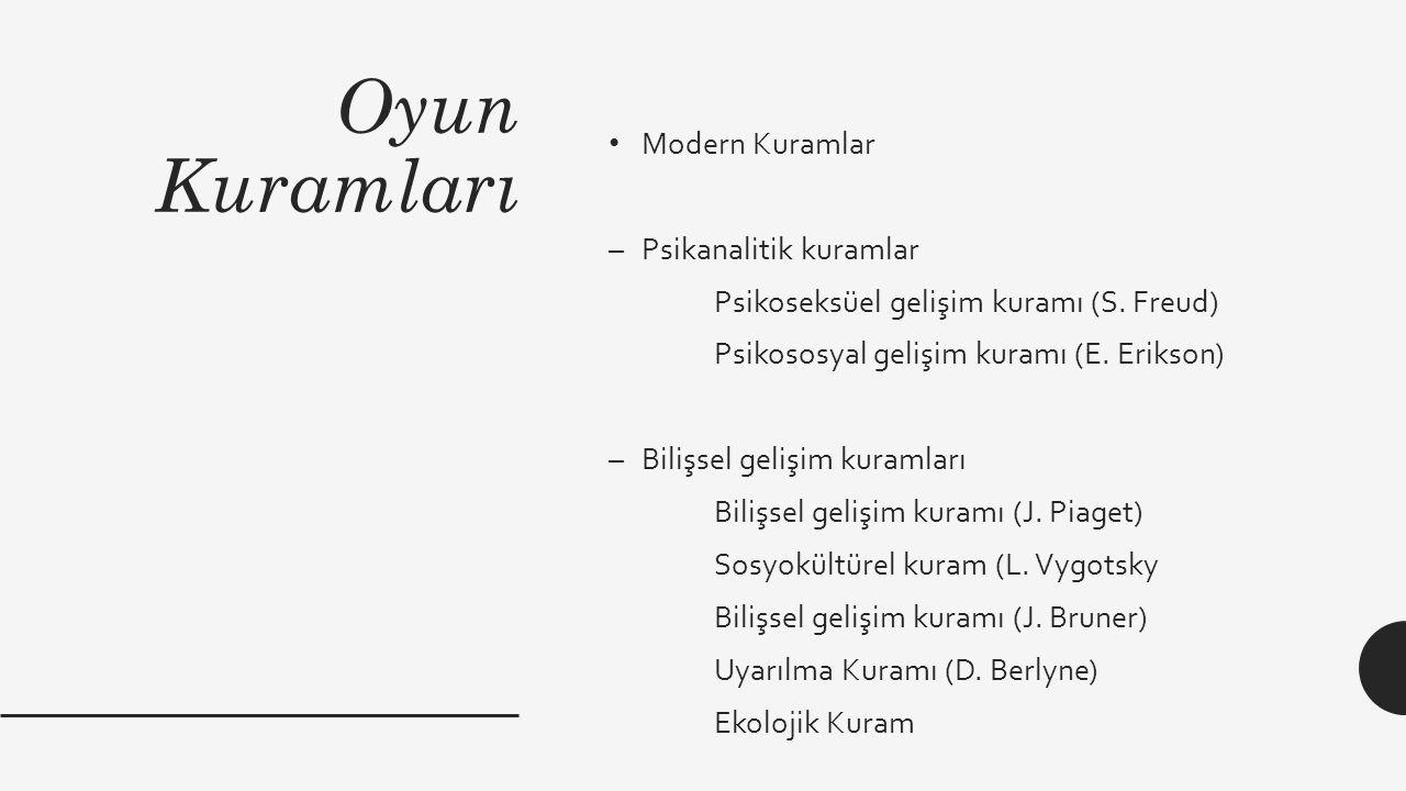 Oyun Kuramları Modern Kuramlar –Psikanalitik kuramlar Psikoseksüel gelişim kuramı (S. Freud) Psikososyal gelişim kuramı (E. Erikson) –Bilişsel gelişim