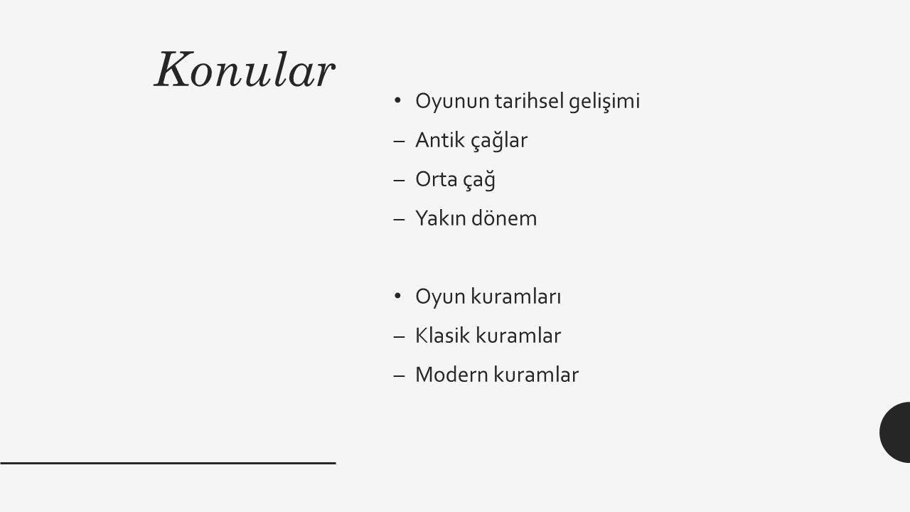 Konular Oyunun tarihsel gelişimi –Antik çağlar –Orta çağ –Yakın dönem Oyun kuramları –Klasik kuramlar –Modern kuramlar
