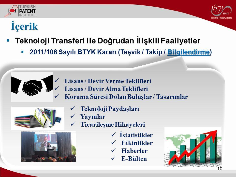  Teknoloji Transferi ile Doğrudan İlişkili Faaliyetler Bilgilendirme  2011/108 Sayılı BTYK Kararı (Teşvik / Takip / Bilgilendirme) İçerik 10 Lisans
