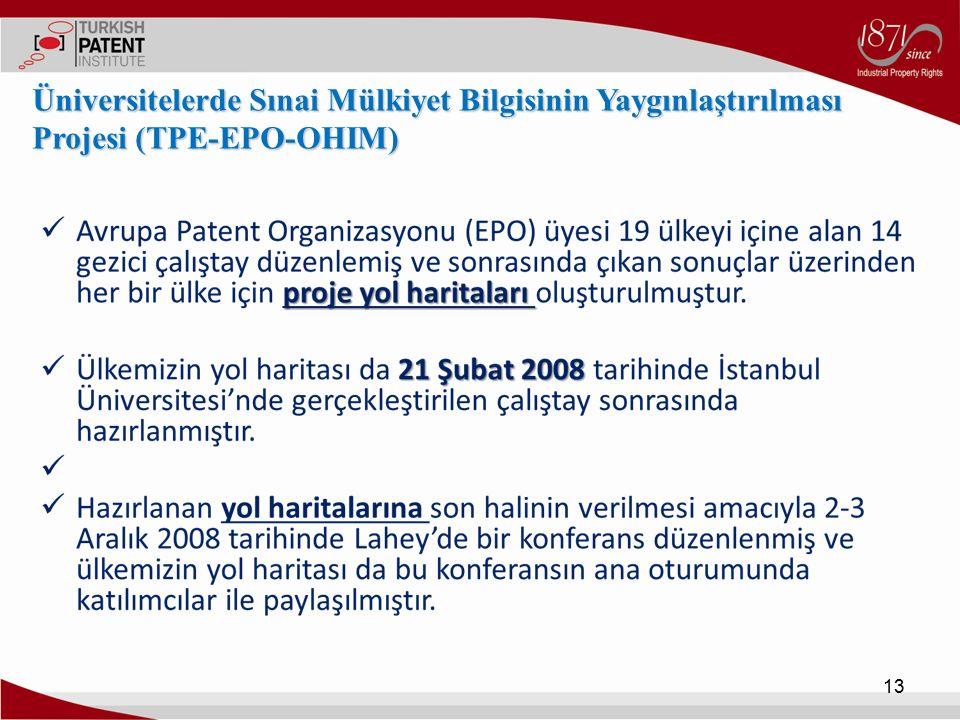 13 Üniversitelerde Sınai Mülkiyet Bilgisinin Yaygınlaştırılması Projesi (TPE-EPO-OHIM)