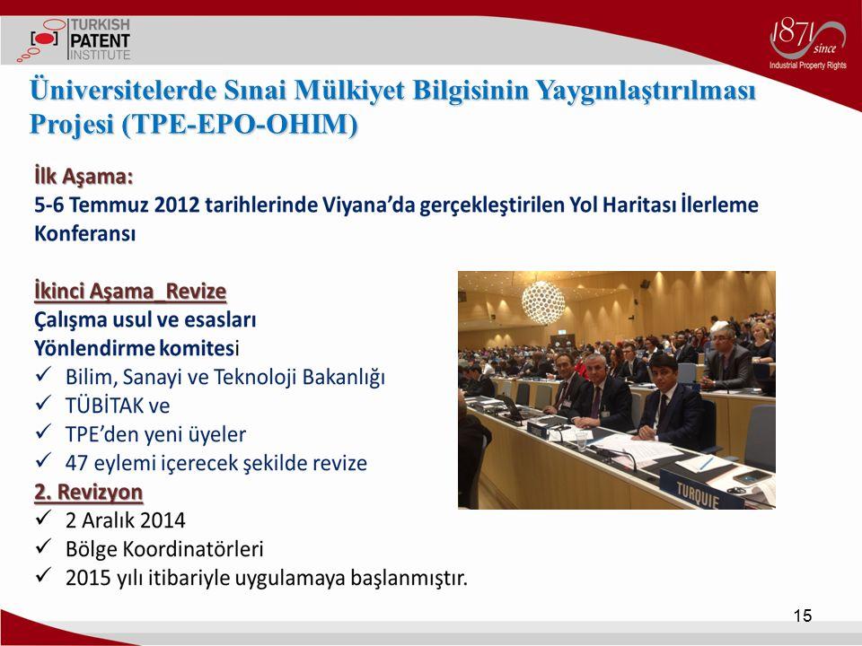15 Üniversitelerde Sınai Mülkiyet Bilgisinin Yaygınlaştırılması Projesi (TPE-EPO-OHIM)