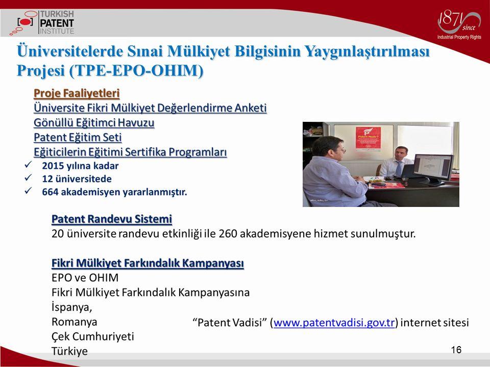 16 Üniversitelerde Sınai Mülkiyet Bilgisinin Yaygınlaştırılması Projesi (TPE-EPO-OHIM)