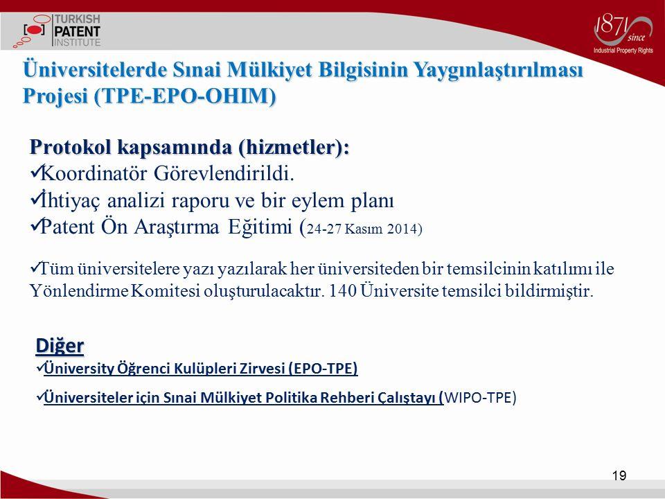 Protokol kapsamında (hizmetler): Koordinatör Görevlendirildi. İhtiyaç analizi raporu ve bir eylem planı Patent Ön Araştırma Eğitimi ( 24-27 Kasım 2014