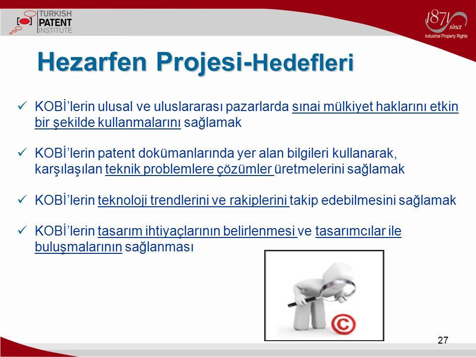 27 Hezarfen Projesi- Hedefleri KOBİ'lerin ulusal ve uluslararası pazarlarda sınai mülkiyet haklarını etkin bir şekilde kullanmalarını sağlamak KOBİ'le